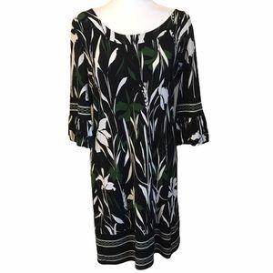 Ann Taylor LOFT Floral Bubble Sleeve Dress 8